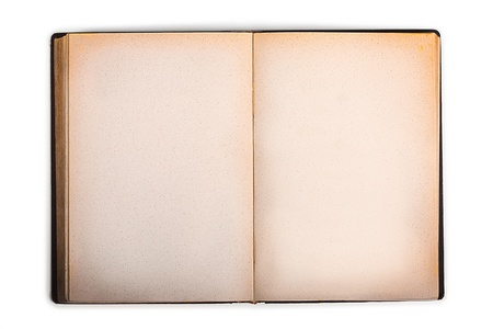 tattered: old book with blank yellow stained pages Stock Photo