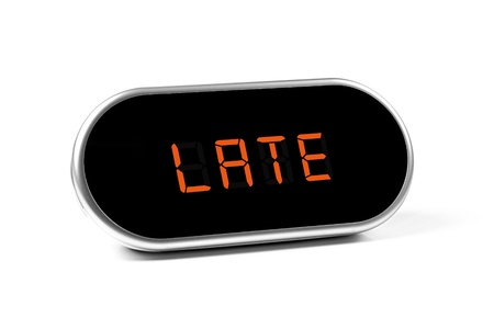 digital alarm clock with text - late Stock Photo - 17239811