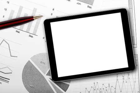 data sheet: blank digital tablet on business documents