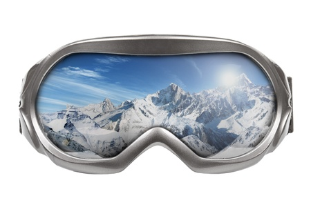 snow mountain: ski goggles with reflection of mountains isolated on white