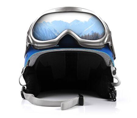 ski mask: blue snowboard helmet with goggles