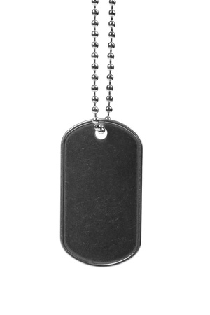 blank dog tag isolated on white photo