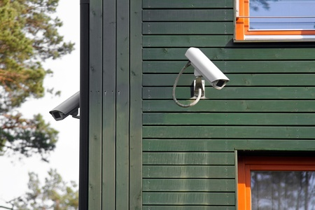 home video camera: security cameras on the building walls