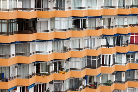 apartment building windows with balconies in mallorca photo