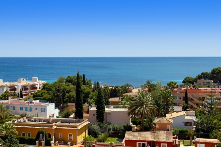 colorful overview of Palma Nova in Mallorca Stock Photo