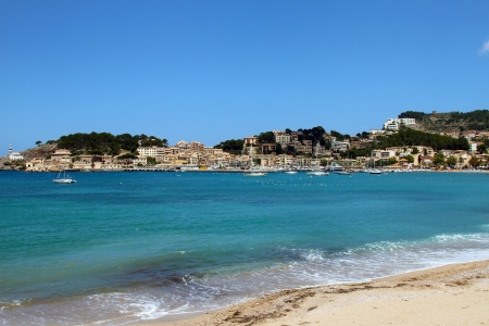 Soller beach of Mallorca with boats in balearic island photo