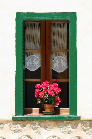 Window with flower pot on the building wall photo