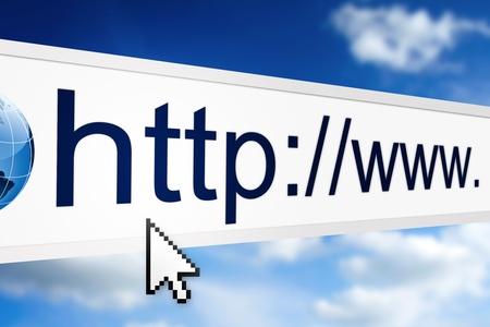 웹 브라우저에서 인터넷 주소의 근접 촬영