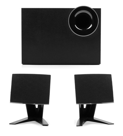 subwoofer: sound system with two speakers and subwoofer Stock Photo