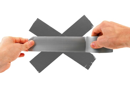 sticky hands: fix something with duct tape, isolated on white