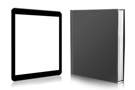 kindle: e-book reader. book and digital tablet Stock Photo