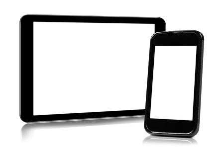 digital tablet and smartphone isolated on white photo