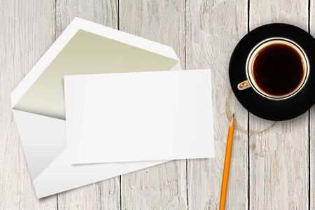 blank letter with envelope and coffee cup on the table photo