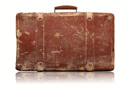 old vintage suitcase isolated on white background photo