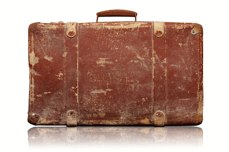 old suitcase: old vintage suitcase isolated on white background