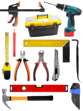 set with construction work tools isolated on white photo