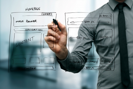 ontwikkeling: ontwerper tekening website ontwikkeling wireframe Stockfoto