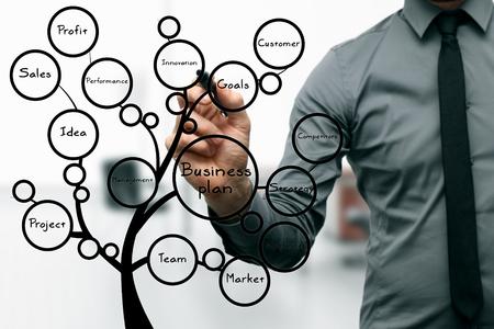 innovativ: Geschäftsmann Zeichnung Business-Plan-Baum