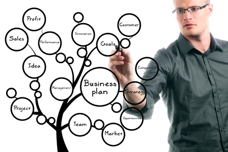 businessman drawing conceptual business plan tree photo