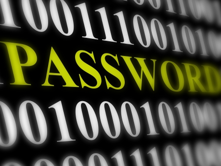 internet password security concept - binary code with text photo