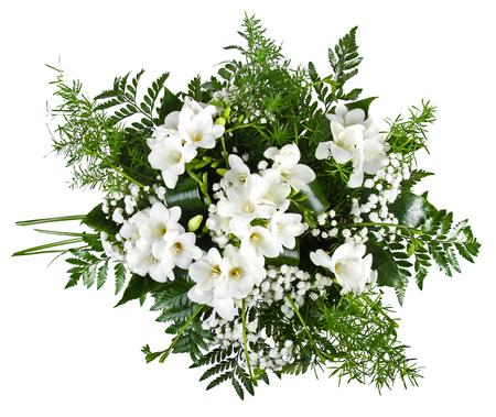 freesia: white freesia bouquet isolated on white