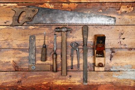 gouge: old vintage hand tools on wooden background