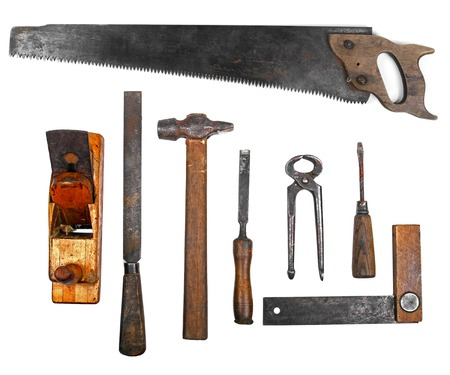 old work tools isolated on white background photo