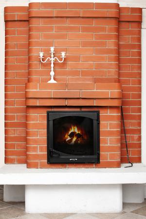 brick fireplace photo