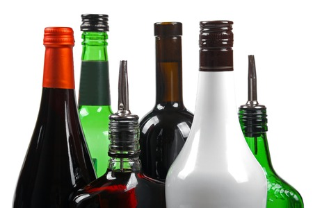 booze: variety of alcoholic beverages isolated on white