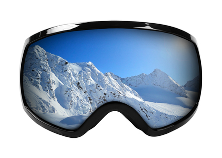 goggle: ski goggles with reflection of mountains isolated on white