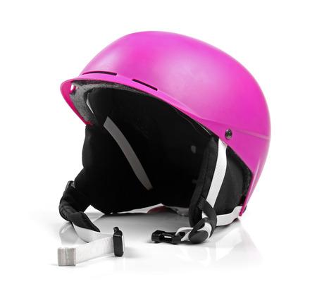 pink helmet isolated on white photo