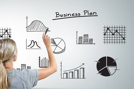 woman drawing different business plan graphs and charts photo