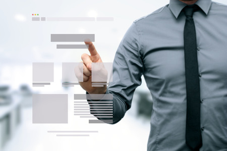 website plan: designer presenting website development wireframe