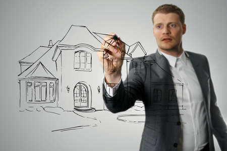 architect drawing: architect drawing house development sketch Stock Photo