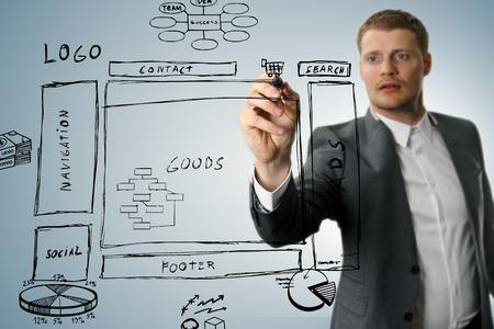 design solutions: online shop development wireframe sketch