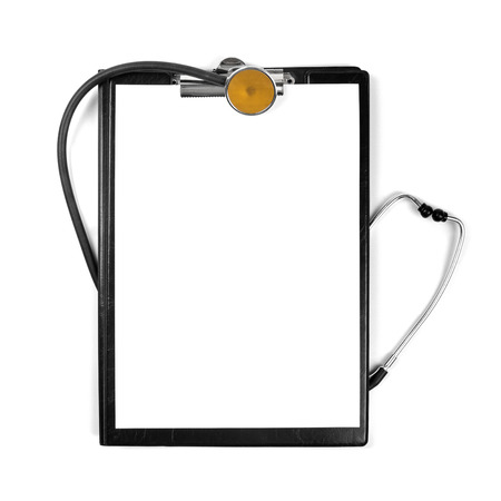 blank clipboard with stethoscope isolated on white photo
