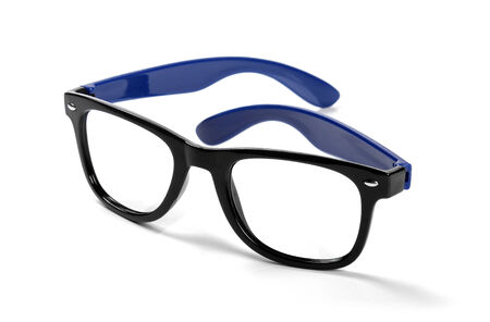 protecting spectacles: black frame hipster eyeglasses isolated on white