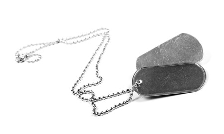 blank metal tags hanging on chain. isolated on a white photo