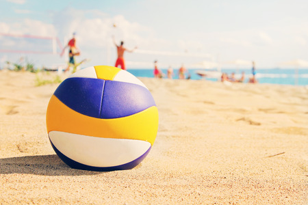 in the sand: beach volleyball ball in sands