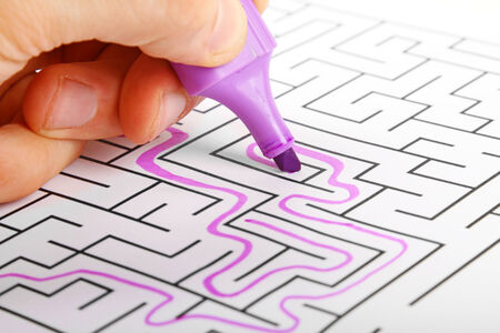 opportunity discovery: deadlock concept - trying to find way out of maze Stock Photo