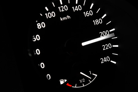 dashboard of car going fast. high speed concept photo