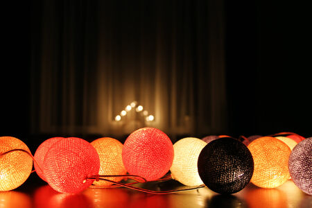 candle lights: room decorated with christmas lights