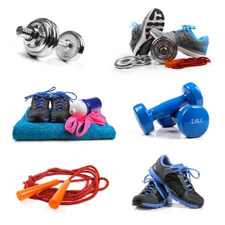 sport equipment: fitness equipment objects isolated on white