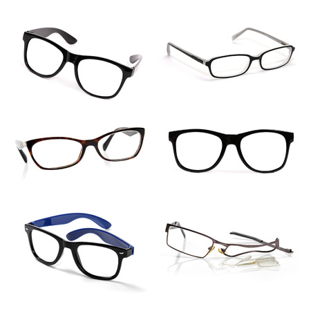 eyeglasses collection isolated on white background photo
