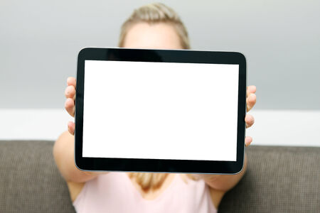 blank tablet: woman showing blank digital tablet