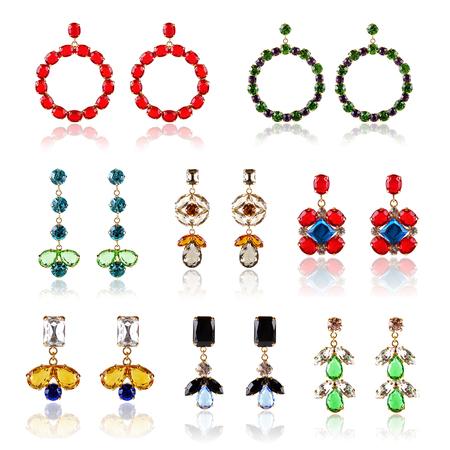 diamond earrings: collection of luxury diamond earrings Stock Photo