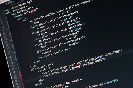 website development - programming code on computer screen Stock Photo