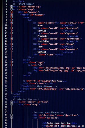 programming code: website development - programming code on computer screen Stock Photo