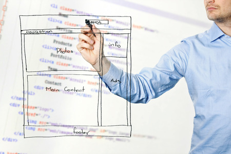 designer presents website development wireframe