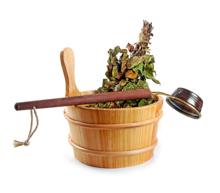 bath and body: sauna accessories - bucket with birch broom and ladle, isolated on white Stock Photo